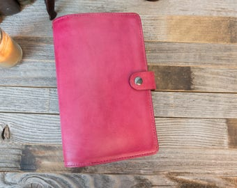 "Large Moleskine Cahier~Shinola Linen~Leather Cover~Portfolio~Journal Size 5x8.25""~Aged~Patina~Personalize~Refillable~Magenta"