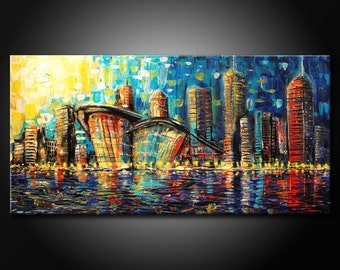 Modern Urban City Fine Art ORIGINAL Acrylic Abstract Painting 48x24 Canvas by FARIAS