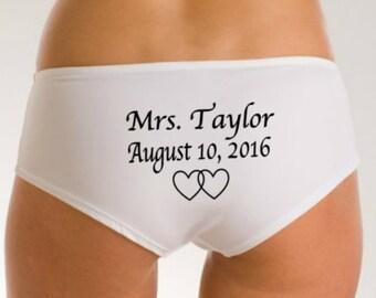 Bridal Custom Panties, Newly Engaged, Bridal Lingerie, Name Date Printed, Wedding Panties, Wedding Underwear, Wedding Gift, Bridal Lingerie