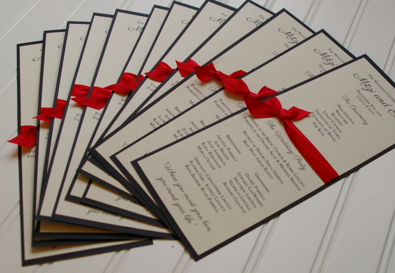 Custom Wedding Programs Ribbon Tied Handmade Tea Length