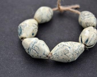 6 Ceramic Art Beads, White / Blue Beads, Textured Beads, Nautical Beads, Artisan Beads, Handmade Beads, Jewelry Supplies