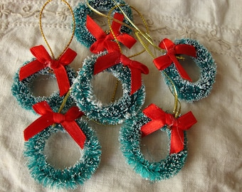"Bottle brush wreaths 1"" 1/4 flocked christmas craft supplies vintage style supplies mini wreaths holiday crafting christmas millinery"