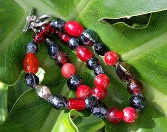 Red and Black Double-Wrap Fidget Bracelet or Choker