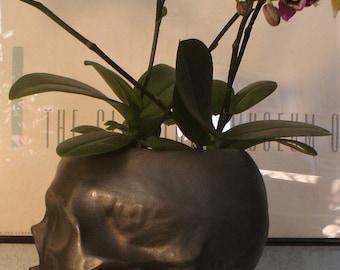 Ceramic Skull Planter, Black Skull Planter, Human Skull Planter