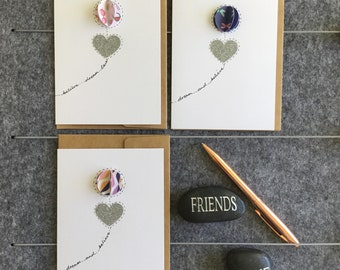 FREE SHIPPING - 3 pack inspirational dream and believe affirmation notecards, bestfriend, life coaching, hand illustrated orb design