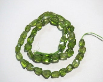 "RARE Natural Green Peridot Faceted Nugget tumble beads Semi precious stone Gemstone Strand 13"" loose Healing Crystals Jewelry craft Supplies"