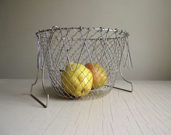 French Wire Basket , Collapsible Mesh Basket , Vintage Wire Mesh Basket , French Country Farmhouse Kitchen Decor