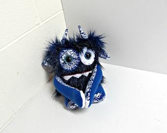 Stuffed Monster - Monster Plush - Handmade Plush Monster - Hand Embroidered OOAK Monster Toy -  Blue Black Tipped Faux Fur - Cute Monster