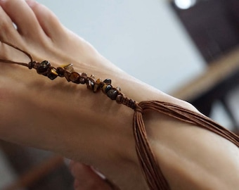 Tiger Eye Boho Barefoot Sandals, Foot Jewelry, Beach Jewelry, Surfer Jewelry, Stone Anklet, 1 Pair