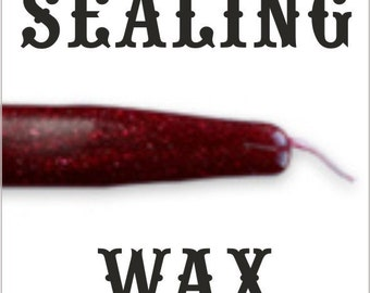 HALF PRICE SALE - Sparkling Dark Red traditional wax sticks with wicks - Scottish style breakable sealing wax - 10 pieces