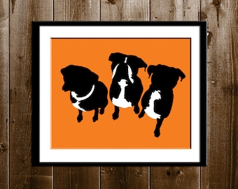 Custom Pets Silhouette Portrait, Custom Gift, Pet Silhouette Art Print, Pet Portrait, Animal Pets Custom Silhouette Portrait from your Photo
