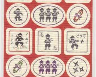 Ninja Stickers - Washi Paper Stickers - Reference A5710-12