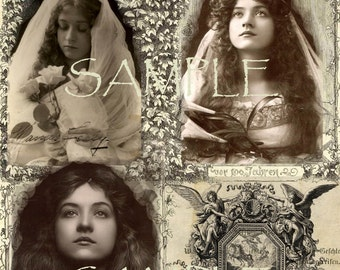 Digital Collage Sheet instant digital Download Vintage Victorian Beautiful Woman Digital Printable Paper Princess Gypsy Boho Shabby chic