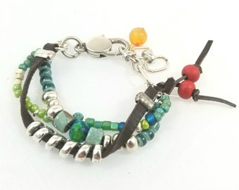 Unisex Multi Strand Leather Bracelet silver beads ceramic beads glass beads red beads green beads blue beads teal beads lobster clasp chain