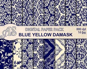 Digital Floral Blue Yellow Damask Paper Pack, 16 printable Digital Scrapbooking papers, damask Digital Collage, Instant Download, set 307