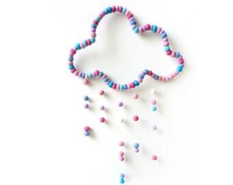 Cloud Mobile. Baby Nursery Mobile. Kids room. Baby decor. Pastel mobile. Children room Homewares Gift. Felt balls
