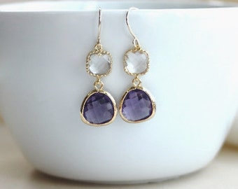 Purple Egg Plant, Amethyst Earrings. Glass Pear, with Clear Glass Earrings. Modern Wedding. Bridesmaids Jewelry