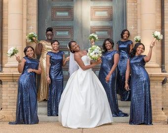 Navy sequin bridesmaid dress , navy blue bridesmaid dress, long bridesmaid dresses