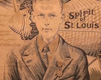Charles Lindbergh Spirit of St. Louis New York to Paris Solo Atlantic Crossing Flight Commemorative Tapestry