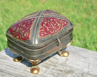 Rare & unusual antique French silver plated brass and red enamel jewelry/ jewellery casket / jewelry box. Decorated with cloisonne panels