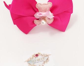 Teddy Bear Hot Pink HeadBand Handmade