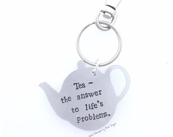 Tea Gift / Tea Pot Keyring / Hand Stamped Keyring / Tea Lover / Perfect Gift / Personalised Gift / Personalised Keyring /Teapot