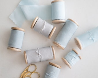 SKY BLUE - Hand Dyed Habotai Silk Ribbon - 0.5, 1.5 and 2.5 inches width - 2.5 or 5 metres/5.4 yards -wedding bouquet, invitations, weddings