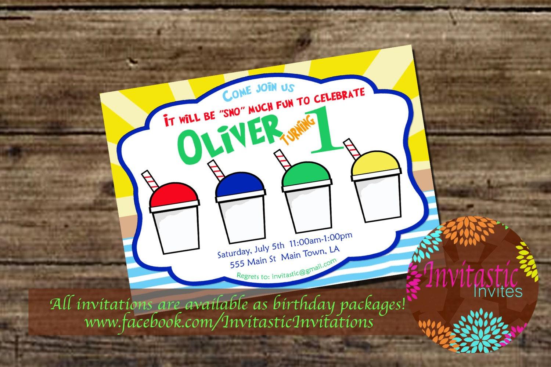 Snoball Birthday Invitation New Orleans Sno-ball Snow Cone