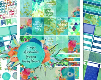Let the Earth Be Glad - XL Printable Sticker Kit - 170 Stickers for MAMBI Happy Planner - Instant Download- Watercolor Scripture Stickers