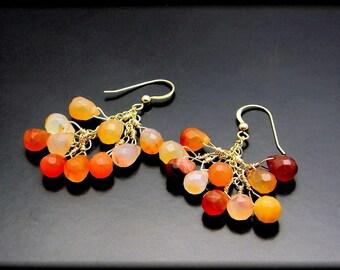 RISING SUN ~ Fiery Carnelian, 14kt GF Gemstone Earrings