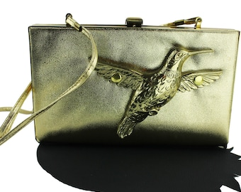 Gold Hummingbird Vinyl Altered Vintage Convertible Strap Purse / Clutch