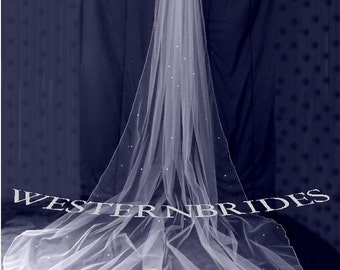 White, ivory or Diamond white Bridal Wedding Cathedral veil with Swarovski crystals and pencil edge