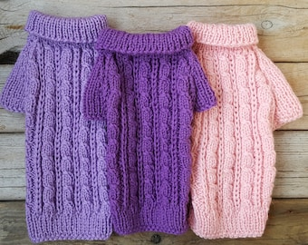 Hand knit Dog Sweater-Dog Coat-Dog Costume-Dog Clothes-Dog fashion-Small Dog Sweater - Size Small