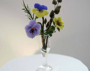 Miniature One 12th Scale pansies in a vase