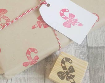 Candy Cane Rubber stamp - Xmas stamps - Christmas gift wrap - Xmas tags - Christmas stamp - Christmas crafts - Christmas decor