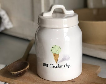 Rae Dunn Mint Chocolate Chip Canister Farmhouse Rae Dunn Canister