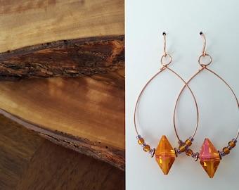 Hoop earrings with beads, Swarovski crystal, memory wire earrings, crystal earrings, orange earrings,statement earrings,lightweight earrings