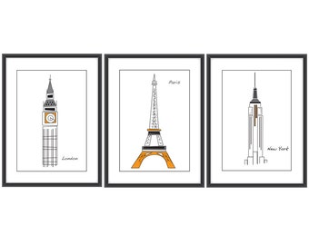Landmarks print set A4 London Paris NY print set Towers print set Contemporary posters Gift print set Gift poster set Print set wall art
