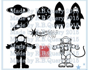Out in Space Rocket Astronaut Spacecraft Spaceship Moon Rings Shooting Star Planets Digital Download SVG DXF PNG JPeg Vector Commercial use