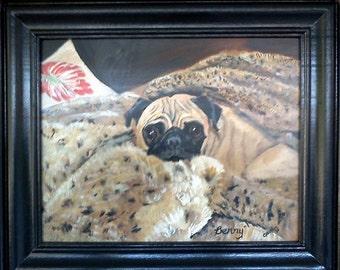 Custom pet portrait, pug portrait, acrylic on wood, handmade frame, fawn pug