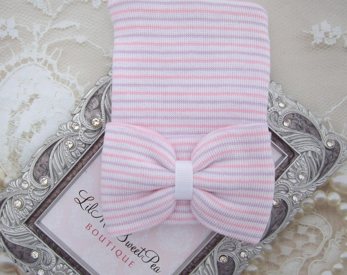 Newborn Hospital Hat, lavender, pink and white stripes, bow, baby hat, lil miss sweet pea, infant beanie, shower gift, hat with bow