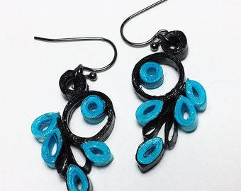 Flair - quilled paper earrings - black, teal, turquoise