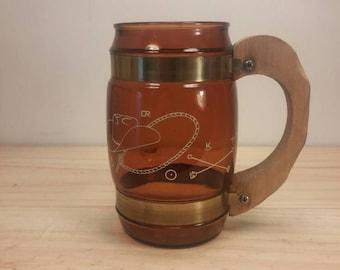 Wonderful Siesta Ware Clear Brown Cowboy Style Wooden Handle Mug / Stein in Excellent Condition! Siestaware