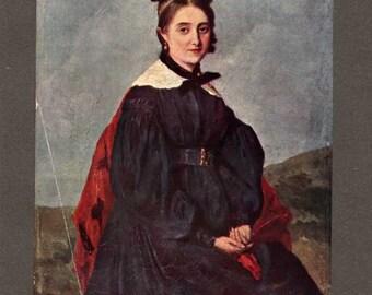 Corot Portrait de Mademoiselle A. Ledoux / Corot Portrait of Mademoiselle A. Ledoux / Vintage book plate