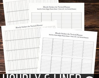 Hourly & Lined Stickers for Vertical Planners - Hack your Happy Planner, Erin Condren, Fits any Vertical 1.5 in planners, Printable