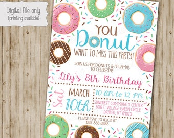 Donut Birthday Invitation, Donut Invitation, Donut Invite, Donut Birthday, Donut Party Invitation, Donut Birthday Invite, Donut Party
