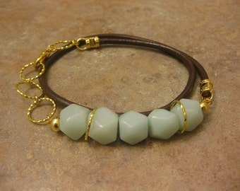 amazonite wrap bracelet, amazonite bracelet, amazonite jewelry, wrap braecelet, brown leather bracelet,leather jewelry, wrap bracelet