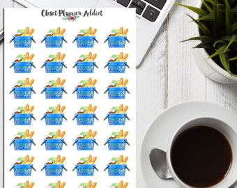 Groceries in Basket Planner Stickers | Groceries Shopping | Groceries Bag | Groceries Planner (S-055)