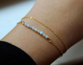 Amazonite Bracelet, Beaded Bracelet, Gemstone Bar Bracelet, Yoga Bracelet, Layered Bracelet Set, Layering Jewelry Set, Minimalist Bracelets