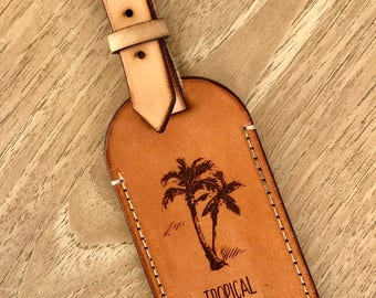 Australian Leather luggage Tag - Tropical Vibes
